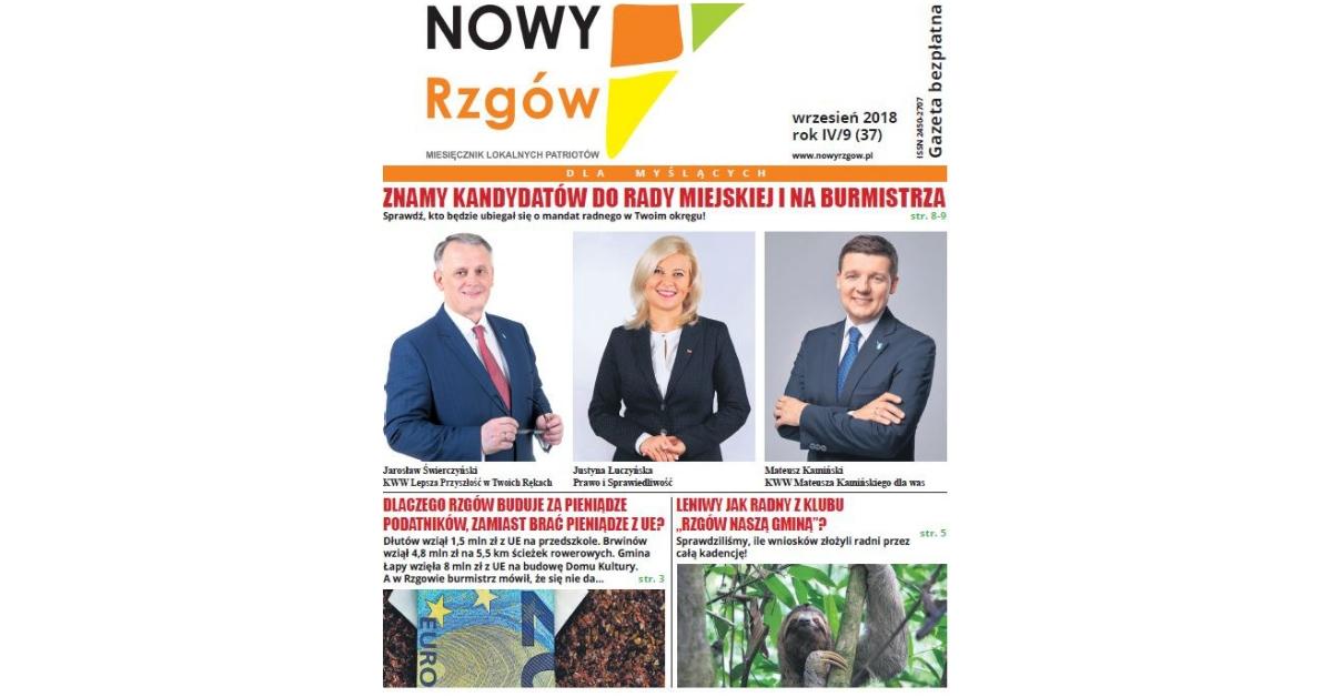 Nowy Rzgów - okładka - wrzesień 2018