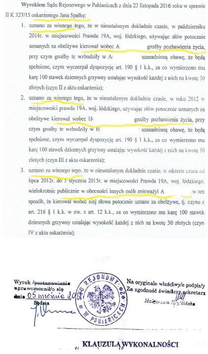 Wyrok - radny Jan Spałka gmina Rzgów