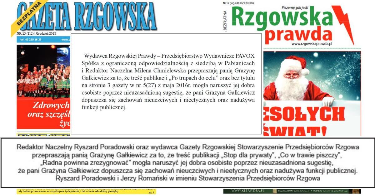 """""""Gazeta Rzgowska"""", """"Rzgowska Prawda"""", Milena Chmielewska, Jerzy Romański, Ryszard Poradowski przepraszają Grażynę Gałkiewicz"""